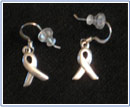 Ribbon sterling silver earrings sold to raise money for Cancer Reaseach in Canada